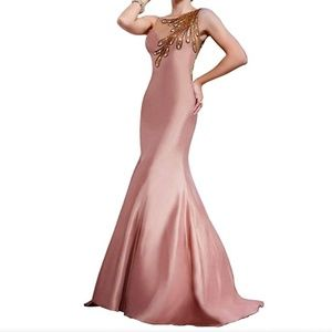 MNM Couture Jeweled Feathers Illusion Mermaid Gown